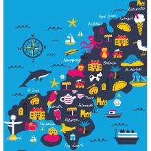 Cornwall Maps. Um projeto de Ilustração, Ilustração digital, Ilustração infantil e Ilustração editorial de Melanie Chadwick - 11.01.2021