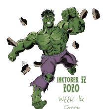 Inktober 52 2020 - Week 14: Green. Un proyecto de Ilustración, Cómic, Dibujo a lápiz e Ilustración digital de Alejandro Fuentes Alonso - 10.04.2020