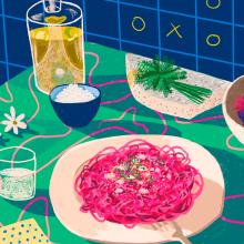 Food party. Um projeto de Ilustração de Gisele Murias - 26.01.2021