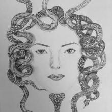 My project in Realistic Portraits with Pen course. A Drawing, Portrait Drawing, and Artistic drawing project by Dimitra Kountiou - 01.27.2021