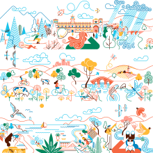 Paradores de Turismo de España - Calendario 2021. A Design, Illustration, Werbung, Produktdesign, Vektorillustration, Skizzenentwurf, Bleistiftzeichnung, Zeichnung und Digitale Illustration project by Carlos Arrojo - 31.01.2021