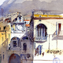 Atrani - Amalfi Coast. A Architecture, Fine Art, Drawing, Watercolor Painting, and Artistic drawing project by yolahugo - 02.05.2021