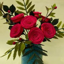 Rosas Rojas de papel . Um projeto de Design, Artesanato, Artes plásticas, Design industrial, Desenho e Teoria da cor de Manuela Maya Rendón - 10.02.2021