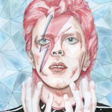 Retrato en acuarela a partir de una fotografía - David Bowie . Un proyecto de Ilustración, Diseño de personajes, Pintura a la acuarela, Ilustración de retrato y Dibujo de Retrato de Lara Izquierdo - 11.02.2021