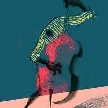 Cartel para Festival de Blues. A Advertising, Pencil drawing, Drawing, Poster Design, and Digital illustration project by Daniel Torrent Riba - 02.12.2021