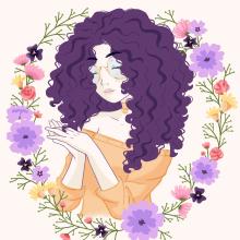 Meu projeto do curso: Retrato ilustrado com elementos botânicos. A Drawing, Portrait Drawing, and Digital Drawing project by Daniela Soares - 02.12.2021