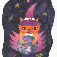 Witchy Cat: My project in Illustration Techniques with Watercolor and Gouache course. A Illustration, Watercolor Painting, and Gouache Painting project by Claudia Aurednik - 02.10.2021