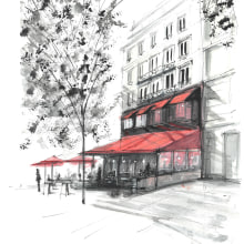 Sketch 1 - Street cafe in Paris. Un proyecto de Ilustración arquitectónica de Andrew Hoare - 04.03.2021