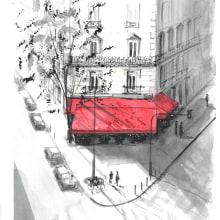 Sketch 2 - Street cafe in Paris. Un proyecto de Ilustración arquitectónica de Andrew Hoare - 04.03.2021