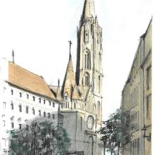 Sketch 3 - Matthias Church in Budapest. Un proyecto de Ilustración arquitectónica de Andrew Hoare - 04.03.2021