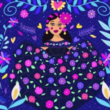 Mi Proyecto del curso: Retrato ilustrado con elementos botánicos. Un proyecto de Ilustración digital de Anne González - 08.03.2021