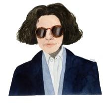Fran Lebowitz. Un proyecto de Ilustración, Dibujo a lápiz, Pintura a la acuarela e Ilustración de retrato de Valentina Armstrong - 16.03.2021