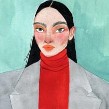 RETRATOS INVENTADOS. Un proyecto de Ilustración, Pintura a la acuarela, Ilustración de retrato, Dibujo de Retrato y Pintura gouache de Valentina Armstrong - 16.03.2021