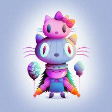 Hello Kitty x Nathan. Um projeto de Ilustração, Design de personagens, Ilustração vetorial, Desenho, Ilustração digital e Ilustração infantil de Nathan Jurevicius - 25.03.2021
