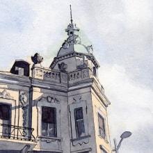 Mein Kursprojekt: Architektonische Zeichnung mit Aquarell und Tinte. A Architektur, Urban Art und Aquarellmalerei project by Hanspeter Stünzi - 29.03.2021