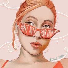I don't need your opinion . Un proyecto de Ilustración, Ilustración digital e Ilustración de retrato de Amalia Torres - 30.03.2021