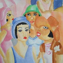 Estudo Di Cavalcanti. Um projeto de Pintura em aquarela de Ariana Hachimoto - 01.04.2021