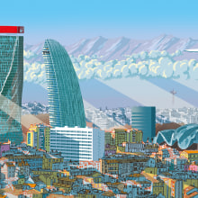 POPPING UP MILANO TEASER. A Illustration, 2D Animation, and Architectural illustration project by Carlo Stanga - 04.07.2021