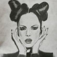 Shirley Manson en gráfito . Un projet de Dessin au cra, on, Dessin, Dessin de portrait, Dessin réaliste , et Dessin artistique de Arely Mejia - 10.09.2019