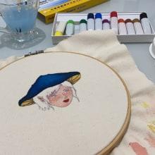 Bordado + aquarela em tecido. Un proyecto de Pintura a la acuarela y Bordado de Vitória Domingos - 24.04.2021