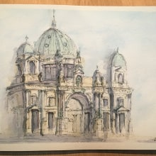 Berlin Cathedral. A Watercolor Painting, and Artistic drawing project by Hannah Davidoff - 05.10.2020