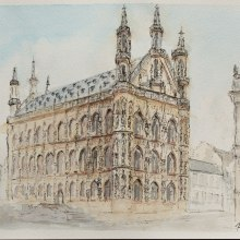 Leuven old city hall. A Watercolor Painting, and Architectural illustration project by Hannah Davidoff - 07.09.2020