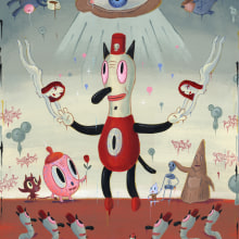 For the Love of Toby . Um projeto de Design de personagens, Artes plásticas, Pintura, Design de brinquedos, Design de personagens 3D, Pintura Acrílica, To e Art de Gary Baseman - 04.05.2021