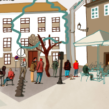 My project in Architectural Illustration: Capture a City's Personality course (Santiago de Compostela). A Illustration project by Abraham Díaz - 05.09.2021