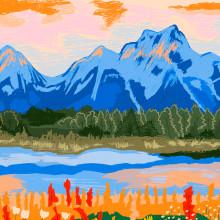 Playa y montaña. Um projeto de Ilustração de Gisele Murias - 10.05.2021