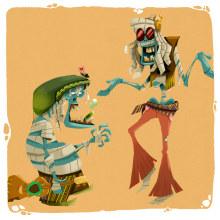 Mi Proyecto: Las Momias Hippies. Um projeto de Ilustração, Design de personagens, Animação de personagens, Animação 2D, Ilustração digital, Videogames, Concept Art, Ilustração infantil e Narrativa de Max Vásquez - 23.02.2021