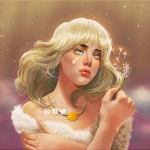 "Billie Eilish's ""Happier than Ever"" Angelic dandelion portrait. A Illustration, Zeichnung, Digitale Illustration, Porträtillustration, Porträtzeichnung, Digitale Zeichnung und Digitale Malerei project by Gari Lubag - 04.05.2021"