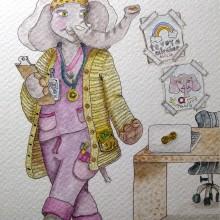 Mi Proyecto del curso: Creación de personajes antropomorfos. A Illustration, Character Design, Drawing, Digital illustration, and Watercolor Painting project by Ana Karina Moreno - 05.18.2021
