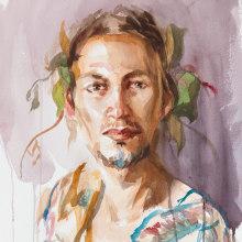My project in Watercolor Portraits: Capture a Model's Personality course. Um projeto de Artes plásticas, Pintura, Pintura em aquarela, Ilustração de retrato e Desenho de Retrato de Michele Bajona - 06.05.2021