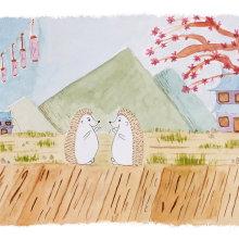 Mi Proyecto del curso: Ilustración en acuarela con influencia japonesa. Un proyecto de Ilustración, Dibujo y Pintura a la acuarela de Flavia Ronchi - 28.05.2021