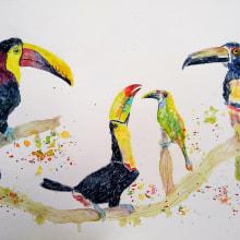 Mi Proyecto del curso: Acuarela artística para ilustración de aves. A Illustration, Watercolor Painting, Realistic drawing, and Naturalist Illustration project by Ana Karina Moreno - 06.01.2021