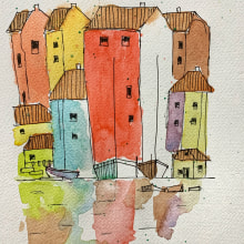 My project in Watercolor Travel Journal course. Un proyecto de Ilustración, Pintura a la acuarela, Ilustración arquitectónica y Sketchbook de Kamontip Suaysuwan - 21.06.2021
