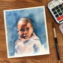 My project in Artistic Portrait with Watercolors course. A Fine Art, Painting, Watercolor Painting, Portrait illustration, and Portrait Drawing project by Ros - 07.09.2021