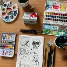 Mein Kursprojekt: Tägliches Sketching für kreative Inspiration. A Illustration, Skizzenentwurf, Kreativität, Zeichnung und Sketchbook project by Vanessa Schlurmann - 03.08.2021