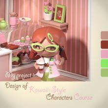 I Love Coffee & Donuts. Un proyecto de Diseño, Ilustración, 3D, Diseño de personajes, Ilustración vectorial, Modelado 3D, Diseño de personajes 3D y Dibujo manga de Elena V Miller - 06.07.2021