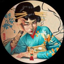 Proceso Geisha Astrogirl Fernando Vicente. A Illustration und Bildende Künste project by Fernando Vicente - 27.08.2021