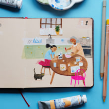 My project in Exploratory Sketchbook: Find Your Drawing Style course. A Illustration, Skizzenentwurf, Kreativität, Zeichnung, Aquarellmalerei, Sketchbook und Gouachemalerei project by Marloes De Vries - 29.08.2021