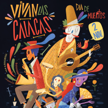 "Cartel infantil para promocionar día de muertos. ""Vivan las Calacas"". A Design, Illustration, Grafikdesign, Zeichnung, Plakatdesign und Kinderillustration project by Luis San Vicente - 27.08.2021"
