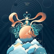 Full moon. A Illustration, Vector Illustration, Digital illustration, and Editorial Illustration project by Phuc Anhn - 09.15.2021