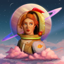 My project in Digital Fantasy Portraits with Photoshop course - Rocket Girl. A Illustration, Drawing, Digital illustration, Portrait illustration, Portrait Drawing, Digital Drawing, and Digital Painting project by Georgia - 09.18.2021