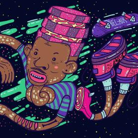 El colombiano Diego Bedoya ilustra inspirado en los 90's