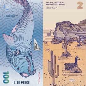 Billetes que muestran la biodiversidad argentina