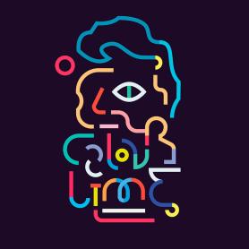Los retratos del arte a base de línea y color