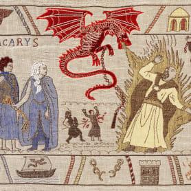 Un tapiz bordado con escenas épicas de Juego de Tronos
