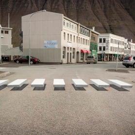 Islandia y los pasos de cebra 3D