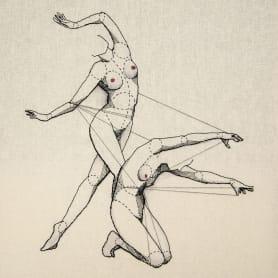 Anatomía femenina bordada con hilo y aguja